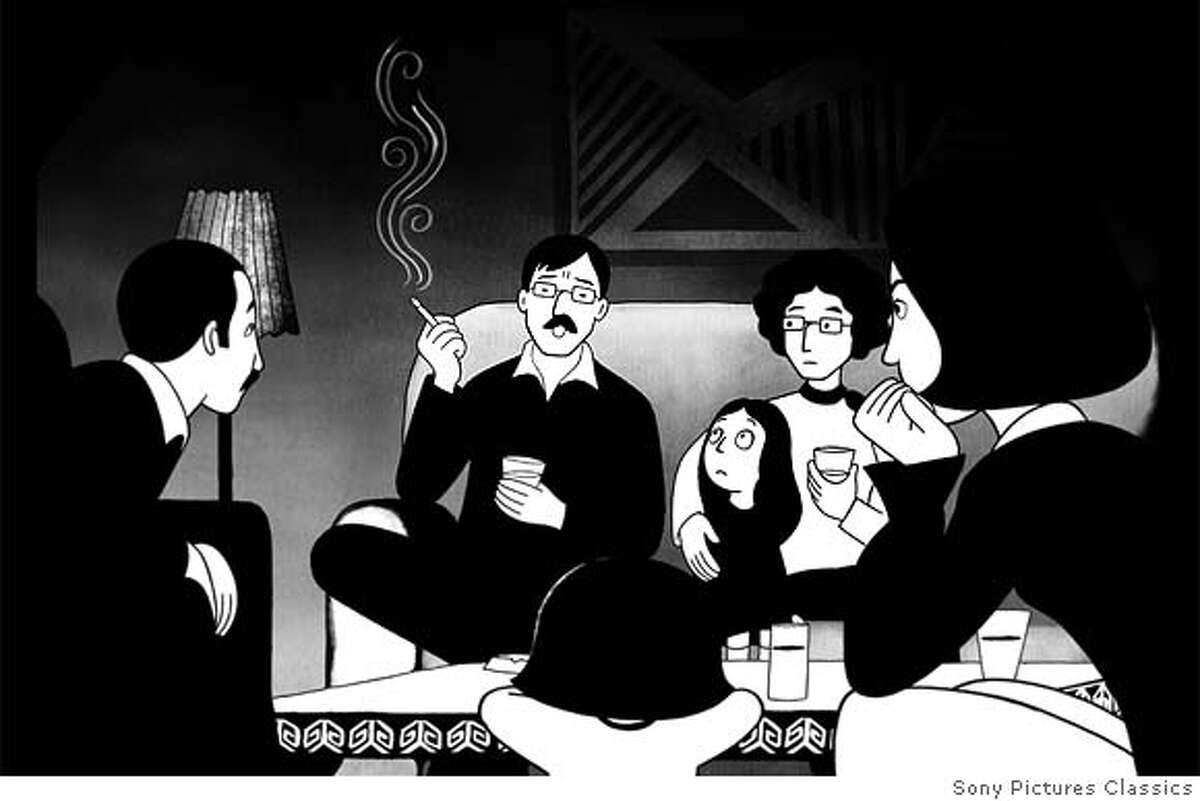 This undated illustration provided courtesy of Sony Pictures Classics shows Marjane, center, as she listens to Siamek, second from left, from the film