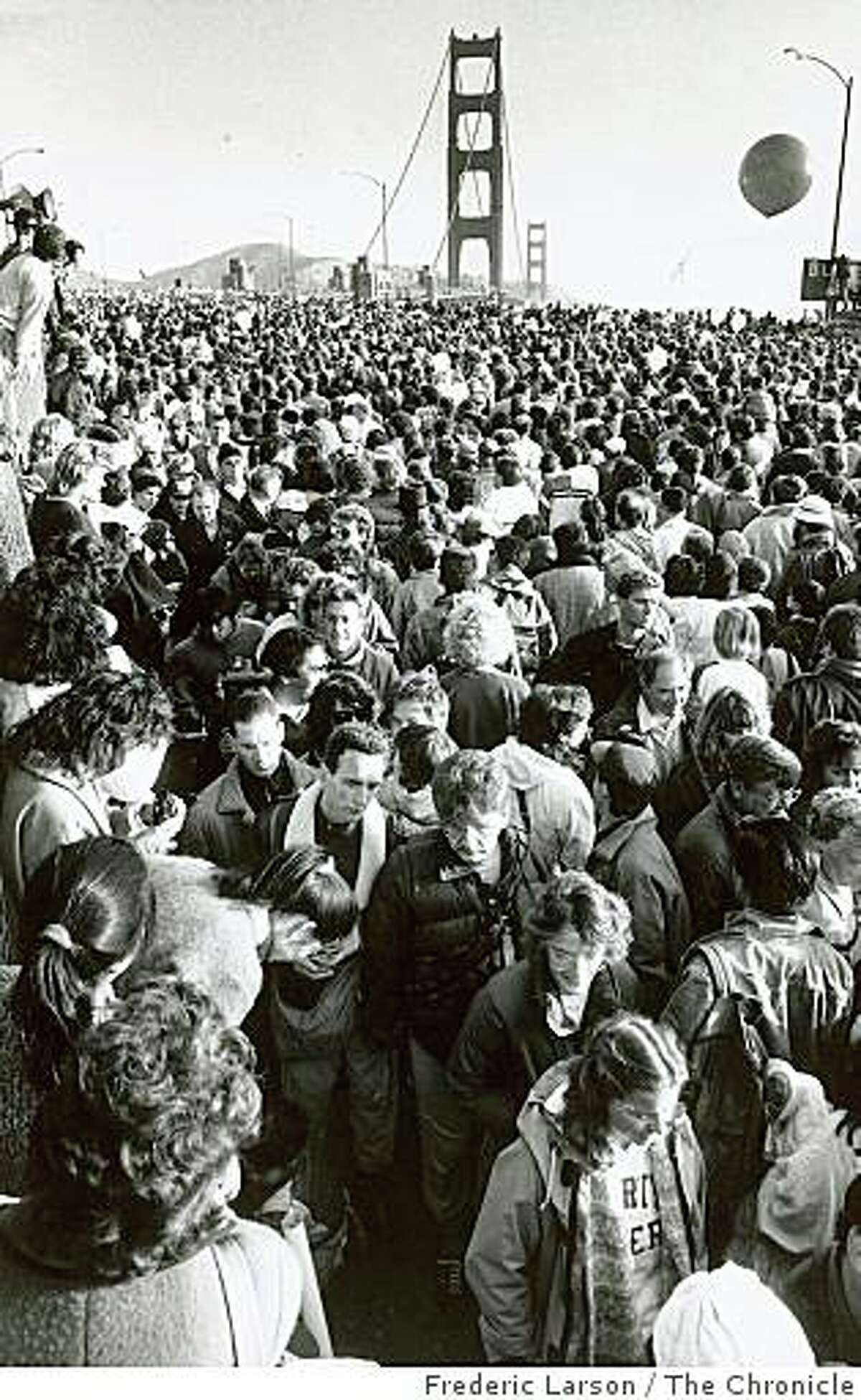 Because it is May 24, 1987, and hundreds of thousands took part in the bridge walk to celebrate the 50th anniversary of the span.