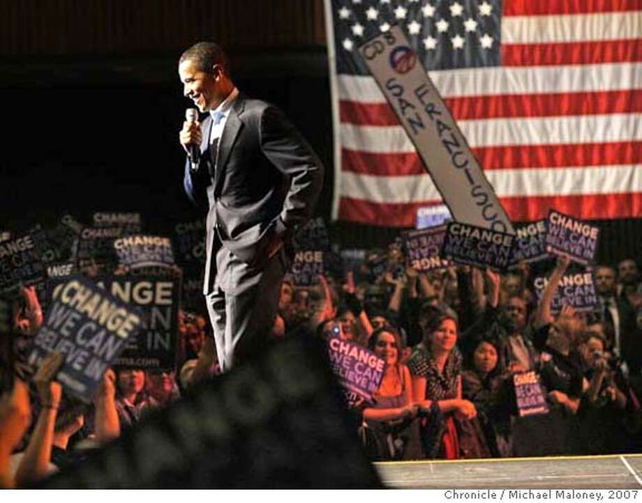 Senator Barack Obama held a rally before thousands at the SF Civic Auditorium on Wednesday night, following his appearance at Google in the afternoon. Photo taken on 11/14/07, in San Francisco, CA.  Photo by Michael Maloney / San Francisco Chronicle  ***Barack Obama MANDATORY CREDIT FOR PHOTOG AND SF CHRONICLE/NO SALES-MAGS OUT Photo: Michael Maloney