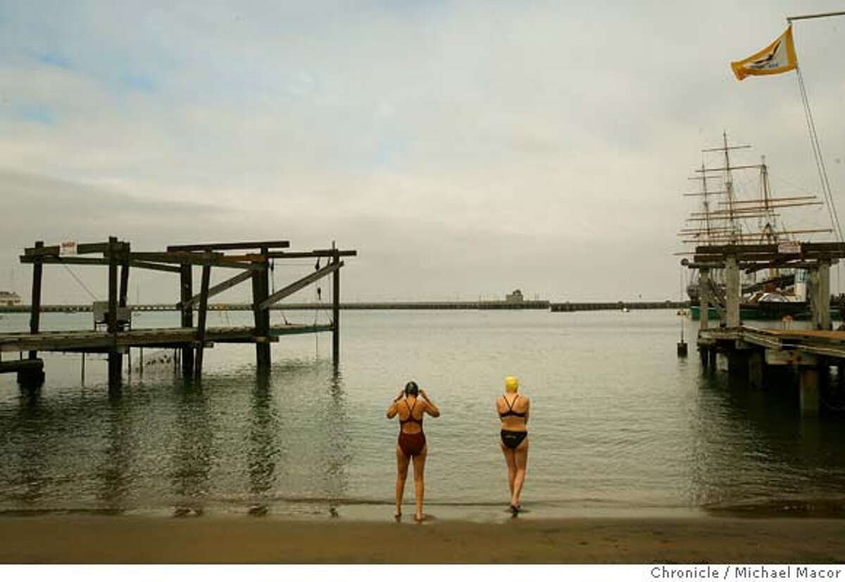irving_mag_097_mac.jpg Irving, (left) and fellow swimmer Anna Sojourner take to the water for a morning swim. San Francsico filmmaker, Judy Irving, who did