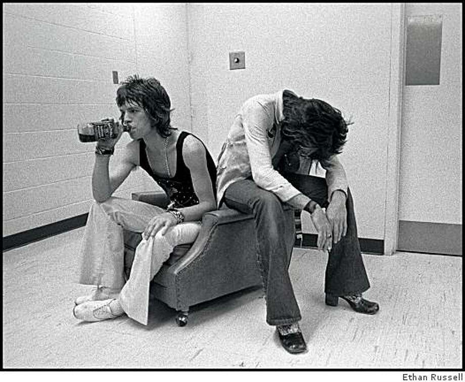 Mick Jagger and Keith Richards during The Rolling Stones tour in 1972. Photo credit: Ethan Russell Photo: � Ethan A. Russell, Ethan Russell