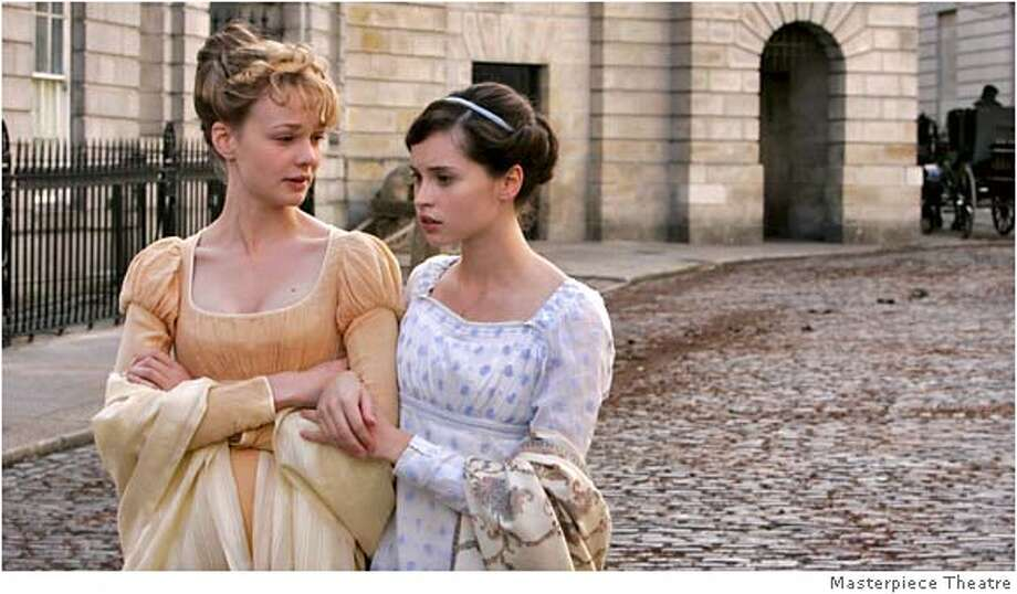 """THE COMPLETE JANE AUSTEN: """"Northanger Abbey"""" Premieres Sunday, January 20, 2008 at 9pm on PBS In Austen's gentle parody of gothic fiction, Felicity Jones (Meadowlands) plays romance-addict Catherine Morland. Invited to a medieval country house that appeals to her most lurid fantasies, she forms a close friendship with the younger son on the estate, Henry Tilney (JJ Feild, The Secret Life of Mrs. Beeton), but their budding romance is mysteriously cut short. Shown: Carey Mulligan as Isabella Thorpe (left) and Felicity Jones as Catherine Morland Photo: Ho"""