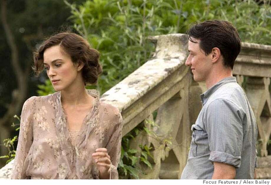 """** FILE ** This undated photo originally provided by Focus Features shows Keira Knightley, left, and James McAvoy during a scene from the film """"Atonement"""". The film was nominated for an Oscar for best picture on Tuesday, Jan. 22, 2008. The awards are scheduled to be held on Feb. 24. (AP Photo/Focus Features, Alex Bailey) ** NO SALES **  Ran on: 01-23-2008  Oscar nominees Daniel Day-Lewis, top, and &quo;Atonement.&quo; Photo: Alex Bailey"""