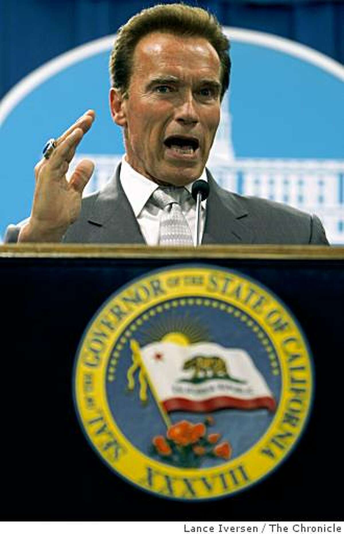 Governor Arnold Schwarzenegger presented his latest revised versions of the California State Budget Thursday May 14, 2009 during a press conference at the State Capital in Sacramento.
