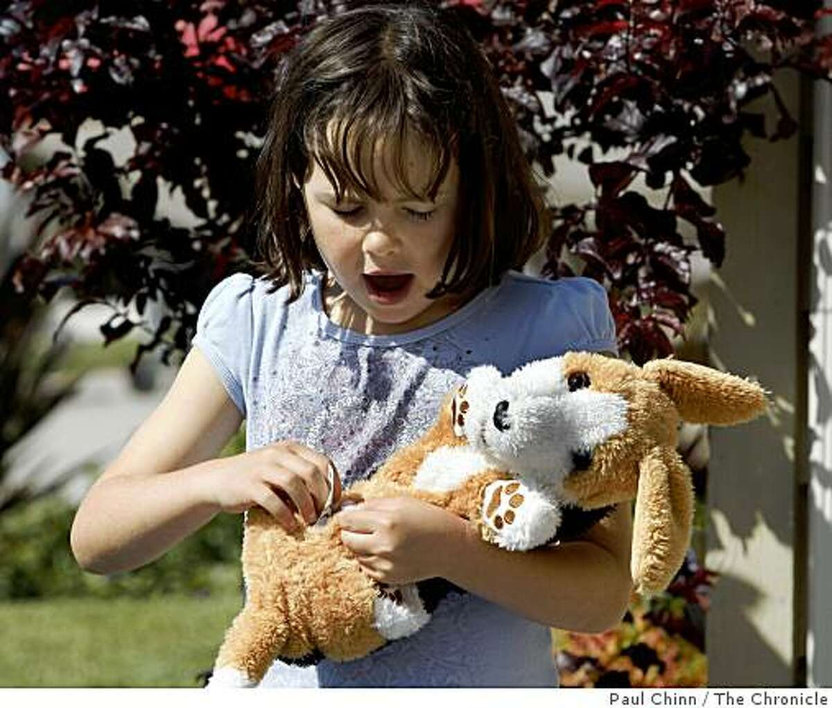 Maya Bliss, 7, cradles a stuffed dog that she claimed at a toy swap organized by the Coastside Mothers Club in Half Moon Bay, Calif., on Saturday, May 16, 2009.