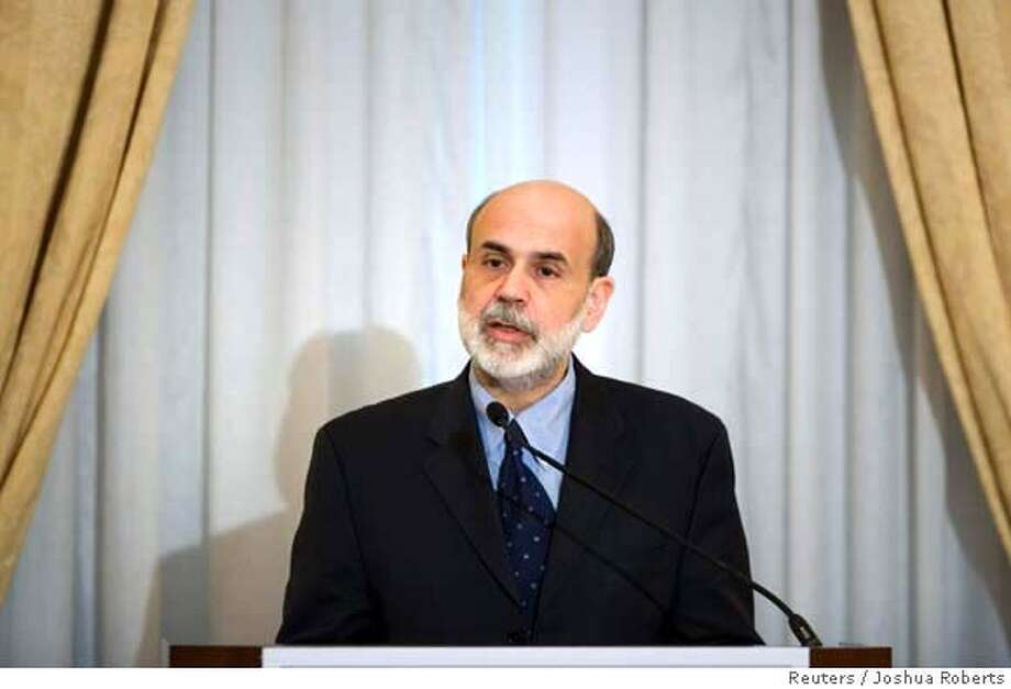 "Federal Reserve Chairman Ben Bernanke speaks at the ""Women in Housing and Finance"" luncheon in Washington January 10, 2008. Bernanke on Thursday said the U.S. central bank was ready to act aggressively to counter a deep housing slump and credit market strains that were putting economic growth at risk. REUTERS/Joshua Roberts (UNITED STATES) Photo: JOSHUA ROBERTS"