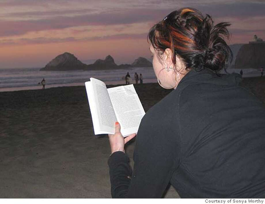 At Ocean Beach, SF On Ocean Beach, watching her boyfriend surf and reading The Culture of Fear: Why Americans are Afraid of the Wrong Things , by Barry Glassner. Photo courtesy of sonya worthy Photo: Photo Courtesy Of Sonya Worthy