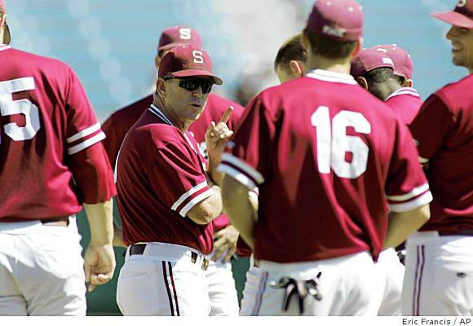 Stanford's Mark Marquess (wearing sunglasses) talks to his team during practice Friday, June 13, 2008, at the College World Series in Omaha, Neb.  Stanford will face Florida State on Saturday. (AP Photo/Eric Francis) Photo: Eric Francis, AP