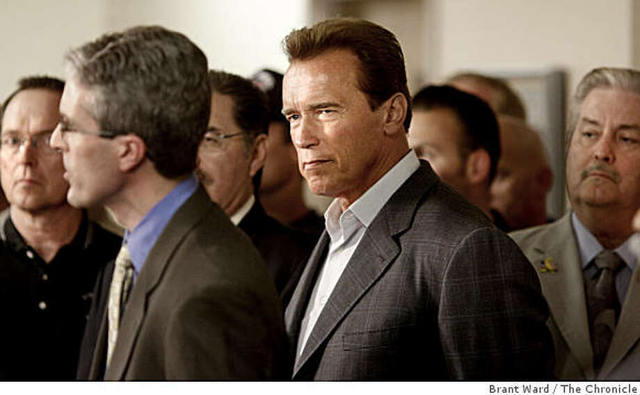 The Governor (center) listened to speakers urge budget reform on the day before the election. On the final day before the special election, Gov. Arnold Schwarzenegger spoke to local fire and police officials in San Jose, CA Monday May 18, 2009. Photo: Brant Ward, The Chronicle