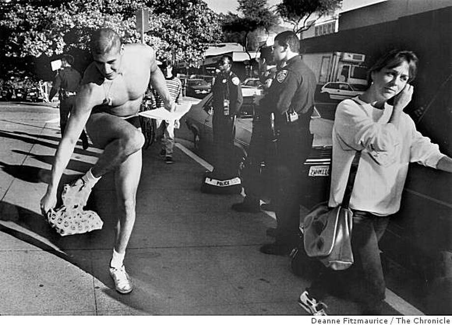 "Andrew Martinez ""The Naked Guy"" appears at a hearing on Cal Campus to see if he will be expelled on 12/1/92. Deanne Fitzmaurice/The Chronicle Ran on: 08-22-2006 Luis Andrew Martinez became known as the &quo;Naked Guy&quo; for attending Cal classes in the buff. Ran on: 08-22-2006 Photo: Deanne Fitzmaurice, The Chronicle"