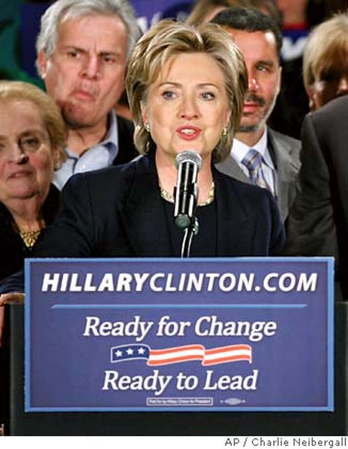 Democratic presidential hopeful Sen. Hillary Rodham Clinton, D-N.Y., speaks at her caucus night rally, Thursday, Jan. 3, 2008, in Des Moines, Iowa. (AP Photo/Charlie Neibergall) Photo: Charlie Neibergall