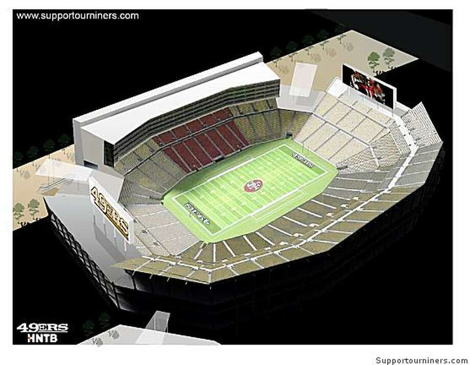 The 49ers proposed stadium would seat 68,500 and reportedly be ready by 2014. Photo: Supportourniners.com
