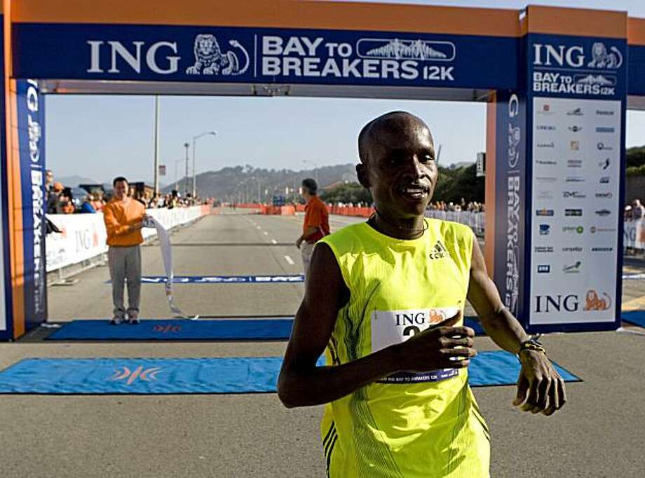 Sammy Kitwara, of Kenya, finishes first in the Bay to Breakers race in San Francisco, on Sunday, May 17, 2009.  (AP Photo/San Francisco Chronicle, Laura Morton) ** NORTHERN CALIFORNIA MANDATORY CREDIT PHOTOG & CHRONICLE; MAGS OUT; NO SALES ** Photo: Laura Morton, Special To The Chronicle