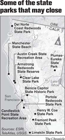 Some of the state parks that may close. Chronicle Graphic