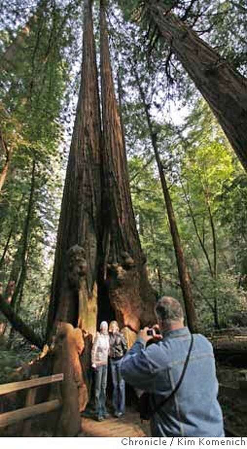 MUIRWOODS_265_KK.JPG  Sheri Nikolakopulos and Kathy Norris, both of Los Angeles asked Gordon Robbins of Austin Texas to take their picture in the hollow trunk of a redwood in Bohemian Grove at Muiir Woods Friday morning.  January 2008 will mark the 100th anniversary of the dedication of Muir Wood, an area that if not for Congressman William Kent, would be under 1,000 feet of water.  Photo by Kim Komenich/The Chronicle  **Sheri Nikolakopulos, Kathy Norris, Gordon Robbins  Ran on: 12-17-2007  Gordon Robbins of Austin, Texas, takes a picture of Sheri Nikolakopulos and Kathy Norris, who are both from Los Angeles, as they stand in the hollow trunk of a redwood tree in Bohemian Grove at Muir Woods. Photo: Kim Komenich