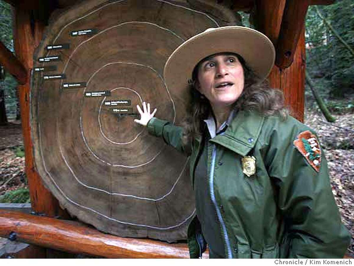MUIRWOODS_139_KK.JPG Muir Woods Park Ranger Mia Monroe explains the rings of a redwood. January 2008 will mark the 100th anniversary of the dedication of Muir Woods. Park Ranger Mia Monroe gives a tour of the park and tells the history of the land that, if not for Congressman William Kent, would be under 1,000 feet of water. Photo by Kim Komenich/The Chronicle ** MANDATORY CREDIT FOR PHOTOG AND SAN FRANCISCO CHRONICLE. NO SALES- MAGS OUT.