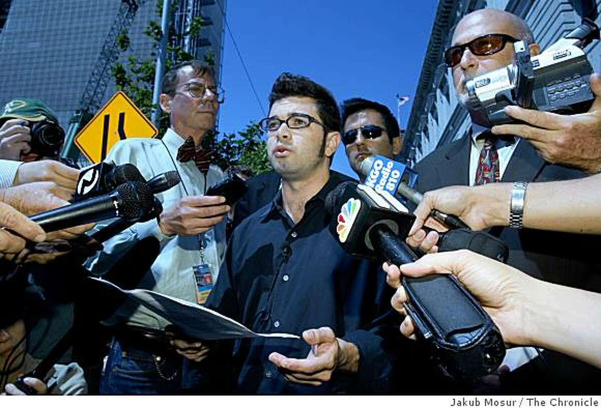 Josh Wolf, freelance journalist who went to jail for refusing to turn over his video of a 2005 SF protest to a grand jury, gives a press conference after a federal appeals court sprung him on bail outside the U.S. Court of Appeals for the 9th Circuit Building in San Francisco on Friday, September 1, 2006.