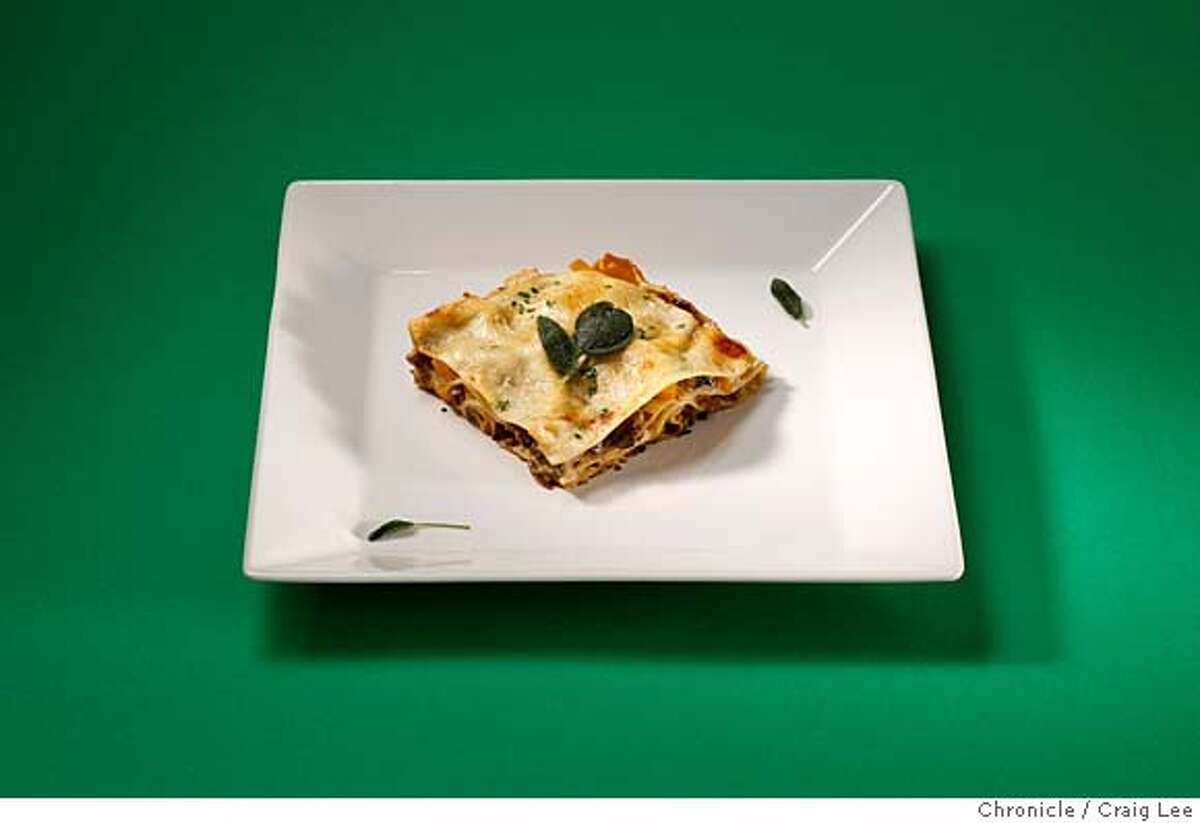 XMASPAIRINGS21_085_cl.JPG Photo of four dishes against different colored backgrounds to be paired with wine photographed against different colored backgrounds. This is lasagna, styled by Amanda Gold. on 12/11/07 in San Francisco. photo by Craig Lee / The Chronicle MANDATORY CREDIT FOR PHOTOG AND SF CHRONICLE/NO SALES-MAGS OUT