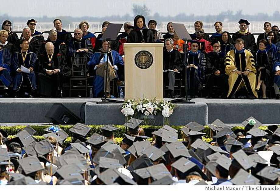 First Lady Michelle Obama delivers the commencement speech to the first full graduating class of UC Merced on Saturday, May 16, 2009 in Merced, Calif. Photo: Michael Macor, The Chronicle