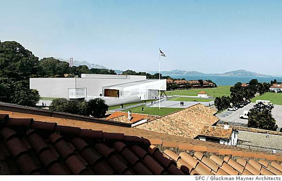 The conceptual design by Gluckman Mayner Architects for the new contemporary art museum proposed by Don and Doris Fisher for the Main Post of the Presidio in San Francisco. The images shown include the proposed landscape for the Main Post�s parade ground, now a parking lot.