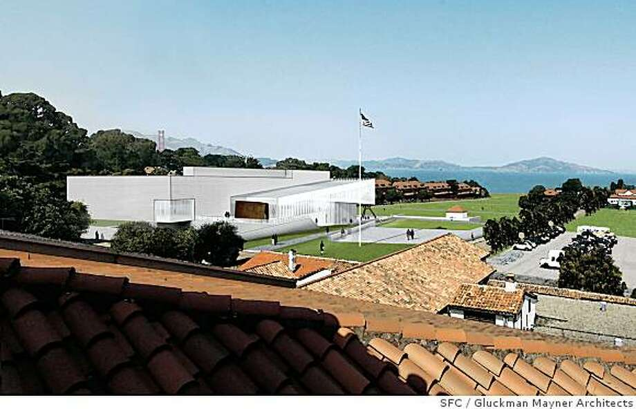 The conceptual design by Gluckman Mayner Architects for the new contemporary art museum proposed by Don and Doris Fisher for the Main Post of the Presidio in San Francisco. The images shown include the proposed landscape for the Main Post�s parade ground, now a parking lot. Photo: Gluckman Mayner Architects, SFC