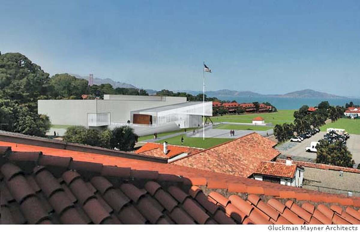 PRESIDIO04_ph3.jpg The conceptual design by Gluckman Mayner Architects for the new contemporary art museum proposed by Don and Doris Fisher for the Main Post of the Presidio in San Francisco. The images shown include the proposed landscape for the Main Post�s parade ground, now a parking lot. Gluckman Mayner Architects /