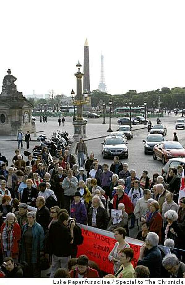 Paris rally last month supporting Mumia Abu-Jamal at Place de la Concorde. Photo: Luke Papenfusscline, Special To The Chronicle