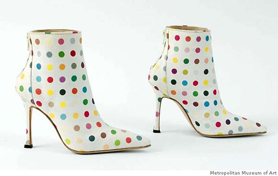 Manolo Blahnik ( by Damian Hirst boots, 2002 White cotton canvas with polychrome pink polka dot print and pink leather lining Photo: Metropolitan Museum Of Art