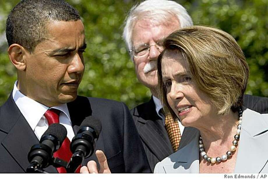 House Speaker Nancy Pelosi of Calif. speaks as President Barack Obama and Rep. George Miller, D-Calif. look on after the president made remarks on healthcare, Wednesday, May 13, 2009, outside the Oval Office of the White House in Washington. Photo: Ron Edmonds, AP