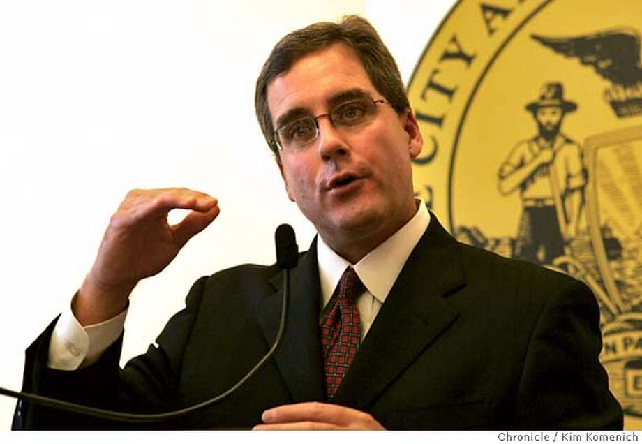 SFGANGS22_013_KK.JPG  At a press City Hall press conference Thursday morning San Francisco City Attorney Dennis Herrera announces that San Francisco will seek civil injunctions against four gangs in the Mission and the Western Addition.  Photo by Kim Komenich/The Chronicle  **Dennis Herrera MANDATORY CREDIT FOR PHOTOG AND SAN FRANCISCO CHRONICLE. NO SALES- MAGS OUT. Photo: Kim Komenich