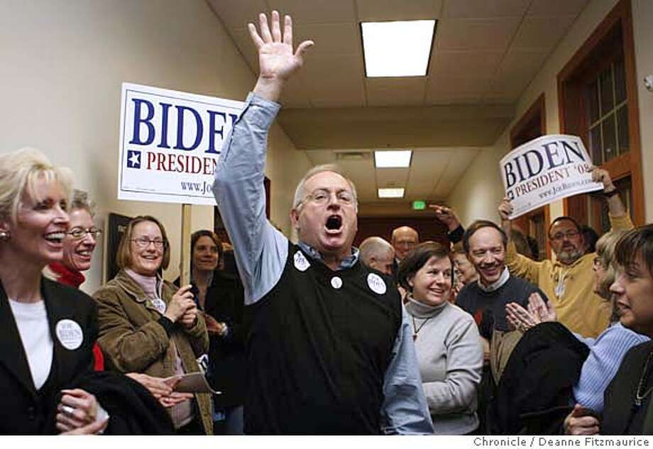 iowa04_501_df.jpg  Jim Cornick celebrates with his group of Joe Biden supporters as the Chris Dodd and Jim Richardson supporters joined the Biden group to make them viable. Iowans came out to Precinct 73 for the state caucus to participate in the first vote of the 2008 presidential election. Photographed in Des Moines on 1/3/08. Deanne Fitzmaurice / The Chronicle Photo: Deanne Fitzmaurice