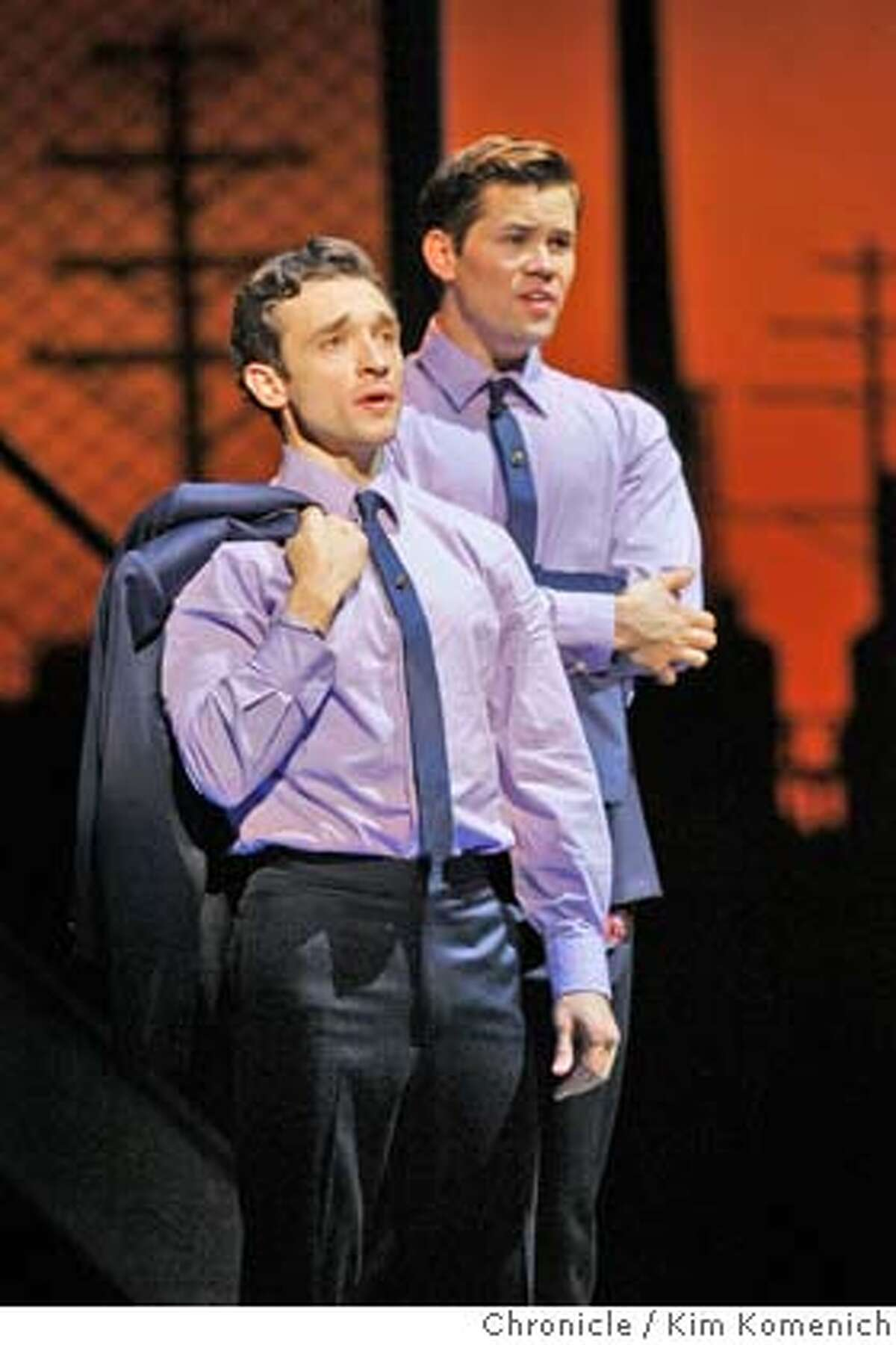 JERSEY03_012_KK.JPG Rick Faugno as Frankie Valli, (L) Andrew Rannells as Bob Gaudio sing as the Broadway hit