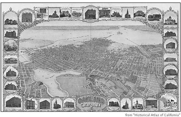 "Oakland, 1900, looking west, with Lake Merritt in the foreground. Image from ""Historical Atlas of California"""