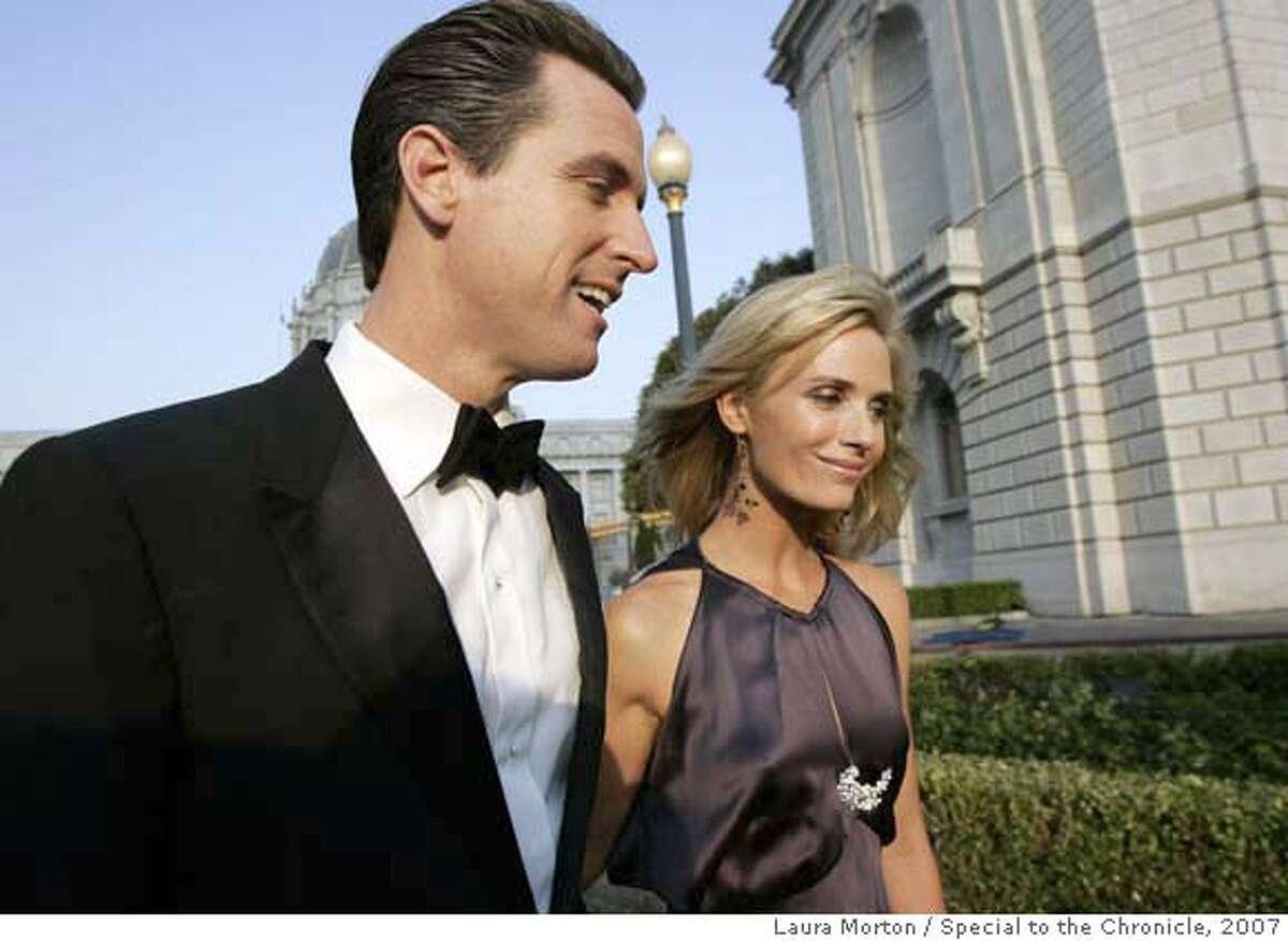 Mayor Gavin Newsom arrives at the San Francisco Opera Opening Night Gala with girlfriend Jennifer Siebel. (Laura Morton/Special to the Chronicle) *** Gavin Newsom *** Jennifer Siebel