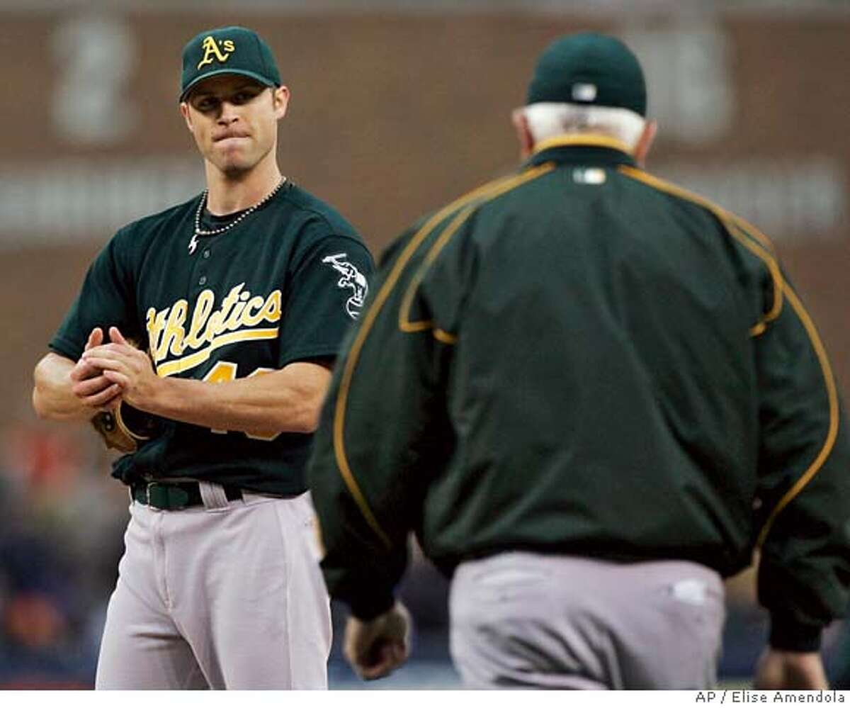 """Rich Harden believes the A's could """"do something special"""" with their projected rotation. Associated Press photo by Elise Amendola"""