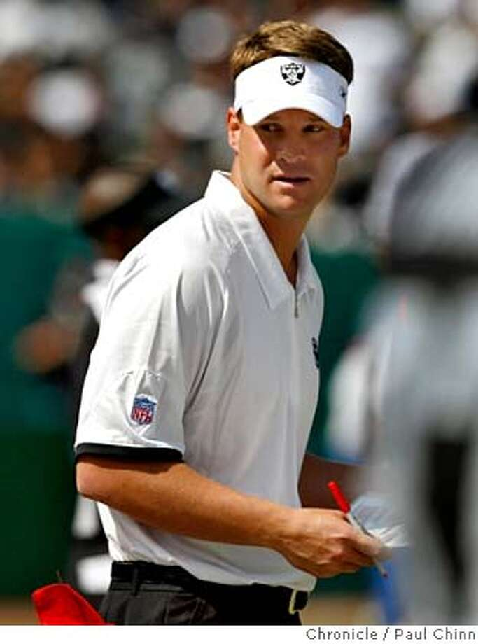 Lane Kiffin made his head coaching debut for the Raiders. The Oakland Raiders vs. Detroit Lions at McAfee Coliseum in Oakland, Calif. on Sunday, Sept. 9, 2007.  PAUL CHINN/The Chronicle  **Lane Kiffin MANDATORY CREDIT FOR PHOTOGRAPHER AND S.F. CHRONICLE/NO SALES - MAGS OUT Photo: PAUL CHINN