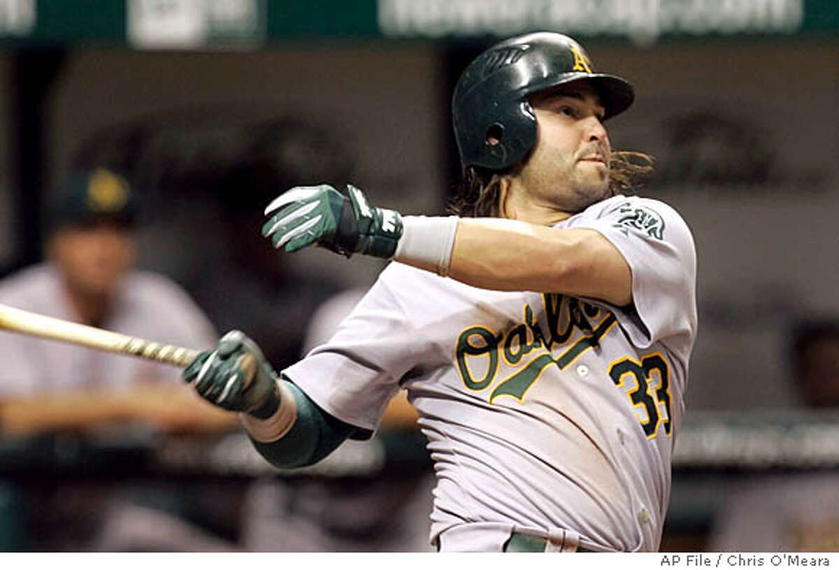 Oakland Athletics' Nick Swisher follows the flight of his ninth-inning, three-run home run off Tampa Bay Devil Rays pitcher Brian Stokes during a MLB game Friday May 4, 2007, in St. Petersburg, Fla. (AP Photo/Chris O'Meara)