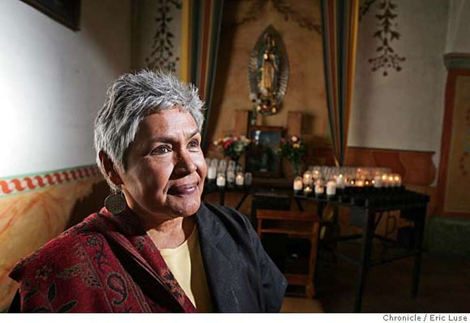Guadalupe Candelaria is the retired office manager of San Juan Bautista's Mission Church, where devotees will gather early Wednesday to honor the Virgen de Guadalupe. Chronicle photo by Eric Luse