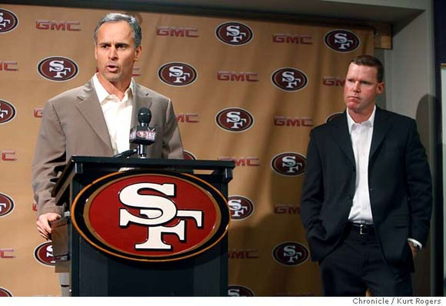 Mike Nolan and Scott McCloughan during press conference.  The San Francisco 49ERS held a press conference to announce that Scott McCloughan is becoming the General Manager of the team . Coach Mike Nolan will remain the head coach.  49ERS_0027_KR.jpg  Kurt Rogers / The Chronicle Photo taken on 1/2/08, in Santa Clara, CA, USA  Ran on: 01-03-2008  Mike Nolan, retained as head coach of the 49ers, and Scot McCloughan, promoted to general manager, face the media at the team's news conference.  Ran on: 01-03-2008 Ran on: 01-03-2008 Ran on: 01-03-2008 Photo: Kurt Rogers