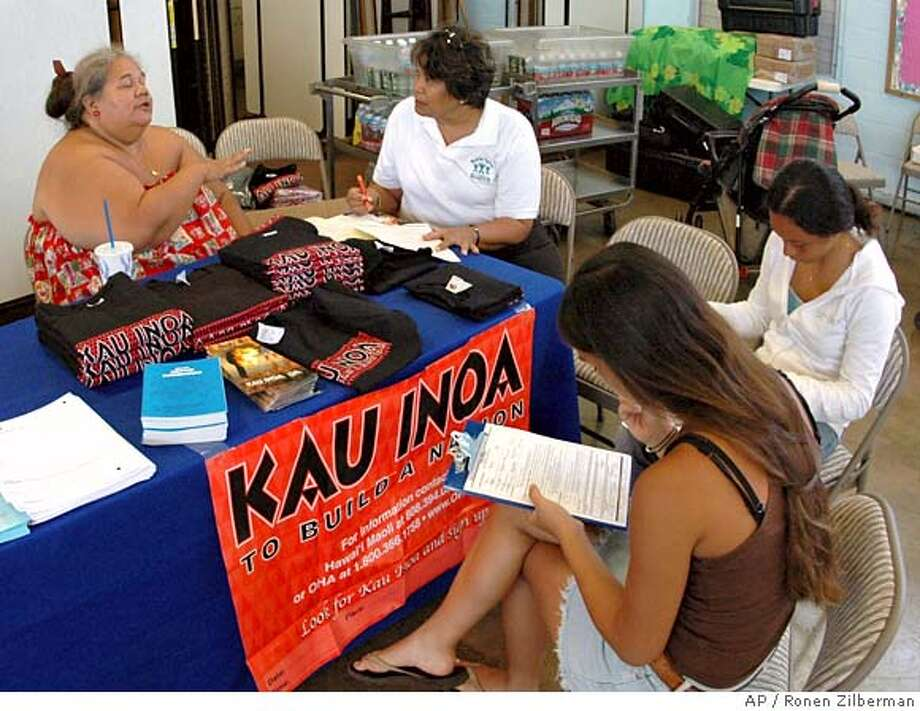 "HAWAII CALLS -- Ha'aheo Frias, foreground, Pomai Frias, right, and Wenda Namocot, center, fill out forms to help prove their Native Hawaiian ancestory, as Leona Kalima, left, from the Ofiice of Hawaiian Affairs, explains the movement entitled ""Kau Inoa,"" which translates as the act of signing up and registering, in this case to support the creation of a new Native Hawaiian govering body. T-shirts were given out for free to all those signing up in support of the movement, in Waimanalo, Saturday, May 7, 2005. Note: The registration effort is continuing with similar events in the Bay Area. (AP Photo/Ronen Zilberman) MAY 7, 2005 PHOTO Photo: RONEN ZILBERMAN"