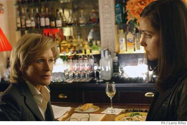 "In this photo provided by FX network, actresses Glenn Close, left, and Rose Byrne are shown in a scene from the legal thriller ""Damages,"" on FX. The program was nominated, Thursday, Dec. 13, 2007, for a Golden Globe for Best Television Series Drama. The awards will be held on Jan. 13. (AP Photo/FX, Larry Riley) ** NO SALES ** Photo: Larry Riley"