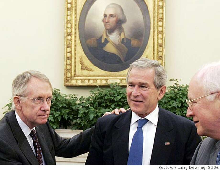 U.S. President George W. Bush (C) hosts a meeting with Democratic Senatorial leadership in the Oval Office of the White House, November 10, 2006. From left are Senate Minority Leader Harry Reid (D-NV), Bush and Vice President Dick Cheney. REUTERS/Larry Downing (UNITED STATES)  Ran on: 11-11-2006  Senate Democratic Leader Harry Reid (left) meets with President Bush and Vice President Dick Cheney in the Oval Office.  Ran on: 11-11-2006  Senate Democratic Leader Harry Reid (left) meets with President Bush and Vice President Dick Cheney in the Oval Office. 0 Photo: LARRY DOWNING