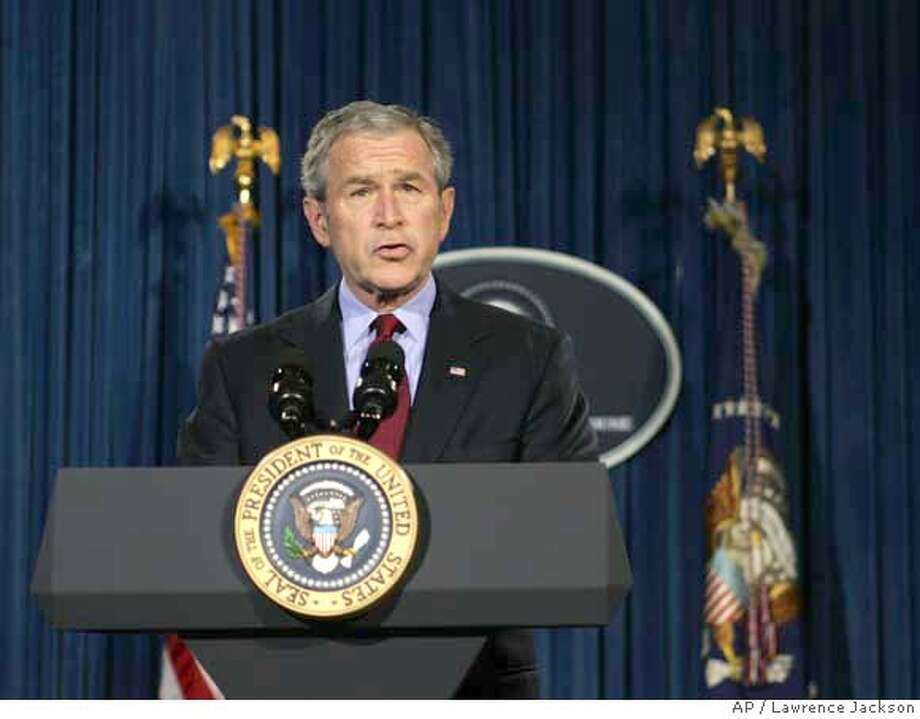 President Bush makes remarks on the death of Pakistan opposition leader Benazir Bhutto, Thursday, Dec. 27, 2007, in Crawford, Texas. Bhutto was assassinated in a suicide attack that also killed at least 20 others at the end of a campaign rally. (AP Photo/Lawrence Jackson) Photo: Lawrence Jackson