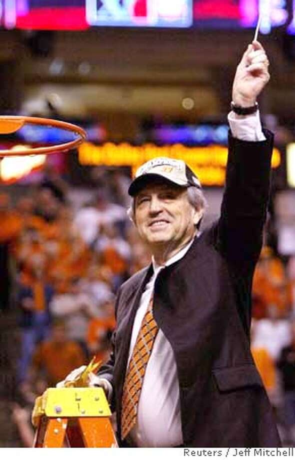 Oklahoma State Cowboys head coach Eddie Sutton holds a piece of the net after the Cowboys defeated the Texas Longhorns 65-49 to win the Big 12 Championship tournament in Dallas, Texas, March 14, 2004. REUTERS/Jeff Mitchell Eddie Sutton has another memory to cherish as he holds up a piece of the net after Oklahoma State beat Texas to win the Big 12 title. Eddie Sutton has another memory to cherish as he holds up a piece of the net after Oklahoma State beat Texas to win the Big 12 title. Eddie Sutton has another memory to cherish as he holds up a piece of the net after Oklahoma State beat Texas to win the Big 12 title. 0 Photo: JEFF MITCHELL