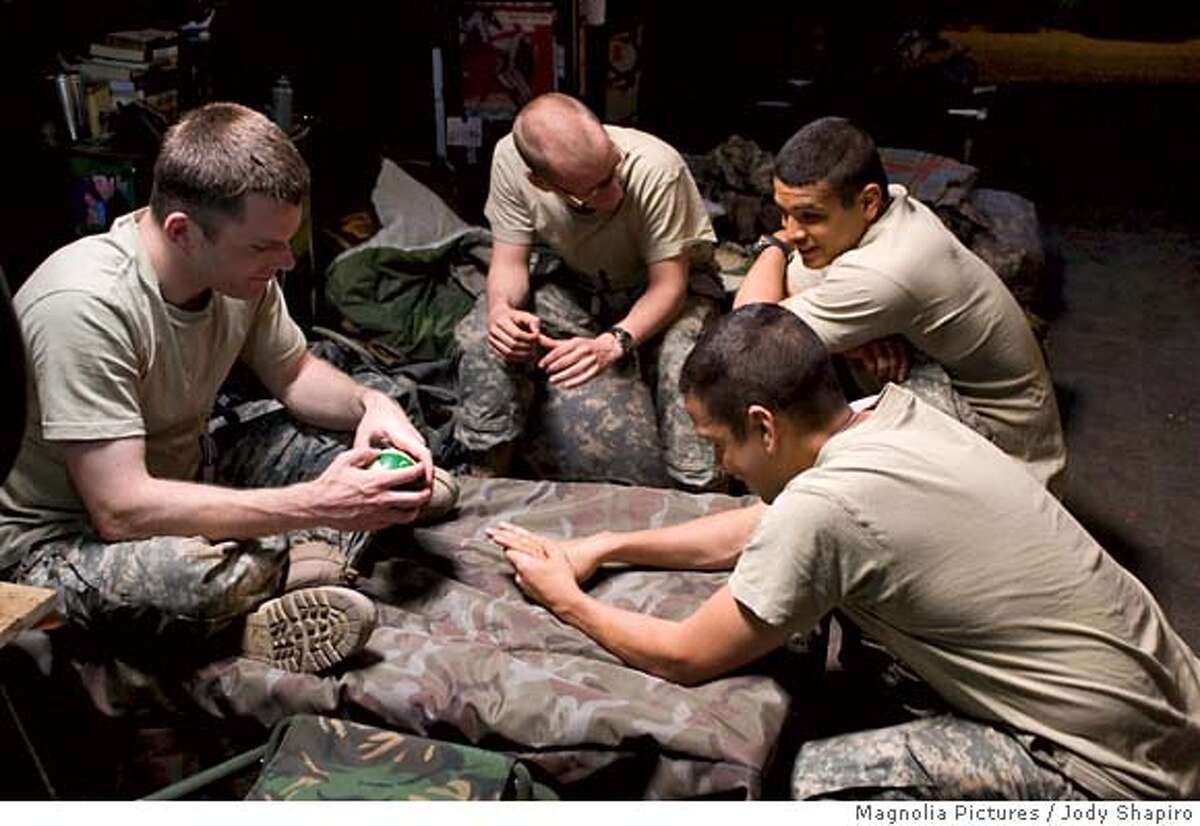 """This photo provided by Magnolia Pictures shows, from left to right, Rob Devaney, Kel ONeill, Mike Figueroa and Izzy Diaz in a scene from """"Redacted."""" (AP Photo/Magnolia Pictures, Jody Shapiro) Ran on: 11-16-2007 Rob Devaney (from left), Kel ONeill, Mike Figueroa and Izzy Diaz in Brian De Palmas Redacted, which takes place in Iraq. NO SALES. PHOTO PROVIDED BY MAGNOLIA PICTURES"""
