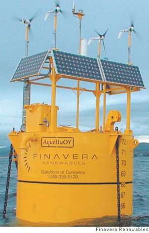 The plant will consist of eight buoys bobbing in the water 2 1/2 miles offshore, each buoy generating electricity as it rises and falls with the waves. Photo courtesy of Finavera Renewables