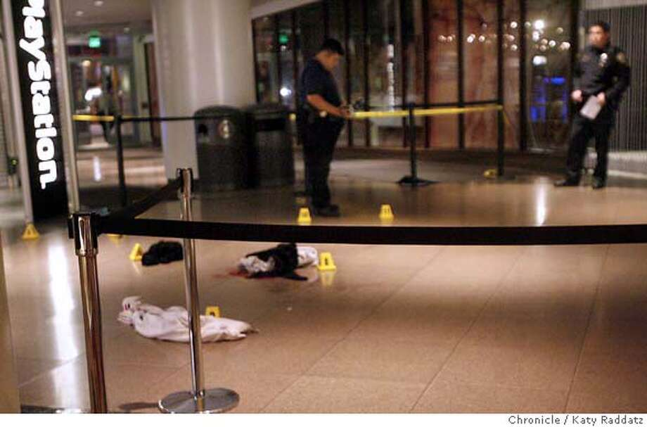 SHOOTING_METREON  Piles of clothing , possessions, and blood on the floor of the Metreon. A fatal shooting at the Metreon, 4th and Mission Streets, in San Francisco. These pictures were made on Sunday Nov.11, 2007, in San Francisco, CA.  KATY RADDATZ/The Chronicle Photo taken on 11/11/07, in San Francisco, CA, USA Photo: KATY RADDATZ