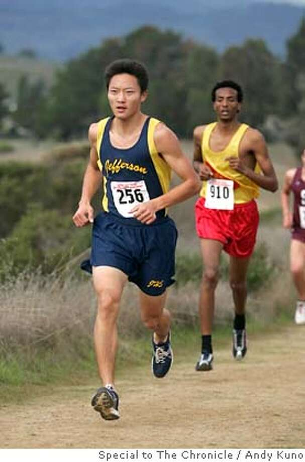 Jefferson's Ganbileg Bor (256) runs in the Division III boy's cross country race at the Crystal Springs course in San Mateo, Calif., Saturday November 10, 2007. Photo: Special to the Chronicle/ANDY KUNO Photo: ANDY KUNO