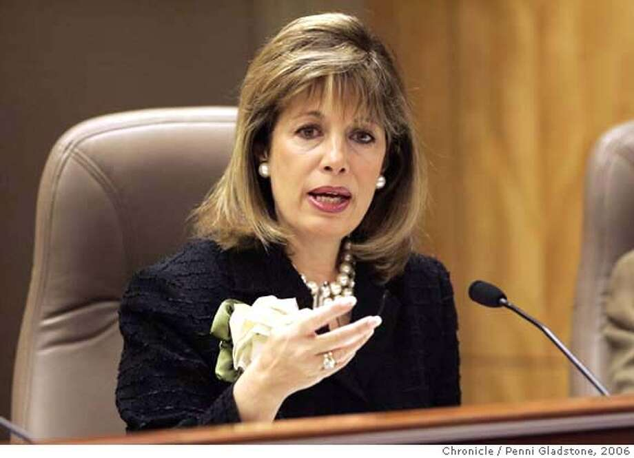UCPAY_SENATE09 Senator Jackie Speier speaking  UC President Robert Dynes will be on the hotseat Wednesday when he testifies before a state Senate Education Committee hearing on UC's pay practices. State Capitol Photo by Penni Gladstone/The San Francisco Chronicle  Photo taken on 2/8/06, in Sacramento, CA.  Ran on: 02-09-2006  Sen. Jackie Speier, D-Hillsborough, raised the question of why reforms recommended in 1992 had not been implemented.  ALSO Ran on: 02-26-2006  Ran on: 02-28-2006  Jackie Speier told one department official, &quo;You're not representing the taxpayer interests.''  Ran on: 05-14-2006  Got toughness? Speier has shown a willingness to challenge powerful interests.  Ran on: 11-23-2006  State Sen. Jackie Speier, who is leaving the Legisla- ture, says that although she doesn't know whether she will run for public office again, she isn't ruling out a gubernatorial bid: &quo;I think I could run this state very well.&quo;  Ran on: 11-23-2006  State Sen. Jackie Speier, who is leaving the Legisla- ture, says that although she doesn't know whether she will run for public office again, she isn't ruling out a gubernatorial bid: &quo;I think I could run this state very well.&quo;  ALSO Ran on: 12-24-2006  Victor Conte, talking to reporters after being sentenced for providing undetectable performance-enhancing drugs to elite athletes, was the founder of the Bay Area Laboratory Co-operative. Dozens of counts were dropped in a plea bargain for Conte and others.  Ran on: 12-24-2006  Victor Conte, talking to reporters after being sentenced for providing undetectable performance-enhancing drugs to elite athletes, was the founder of the Bay Area Laboratory Co-Operative. Dozens of counts were dropped in a plea bargain for Conte and others. Photo: Penni Gladstone