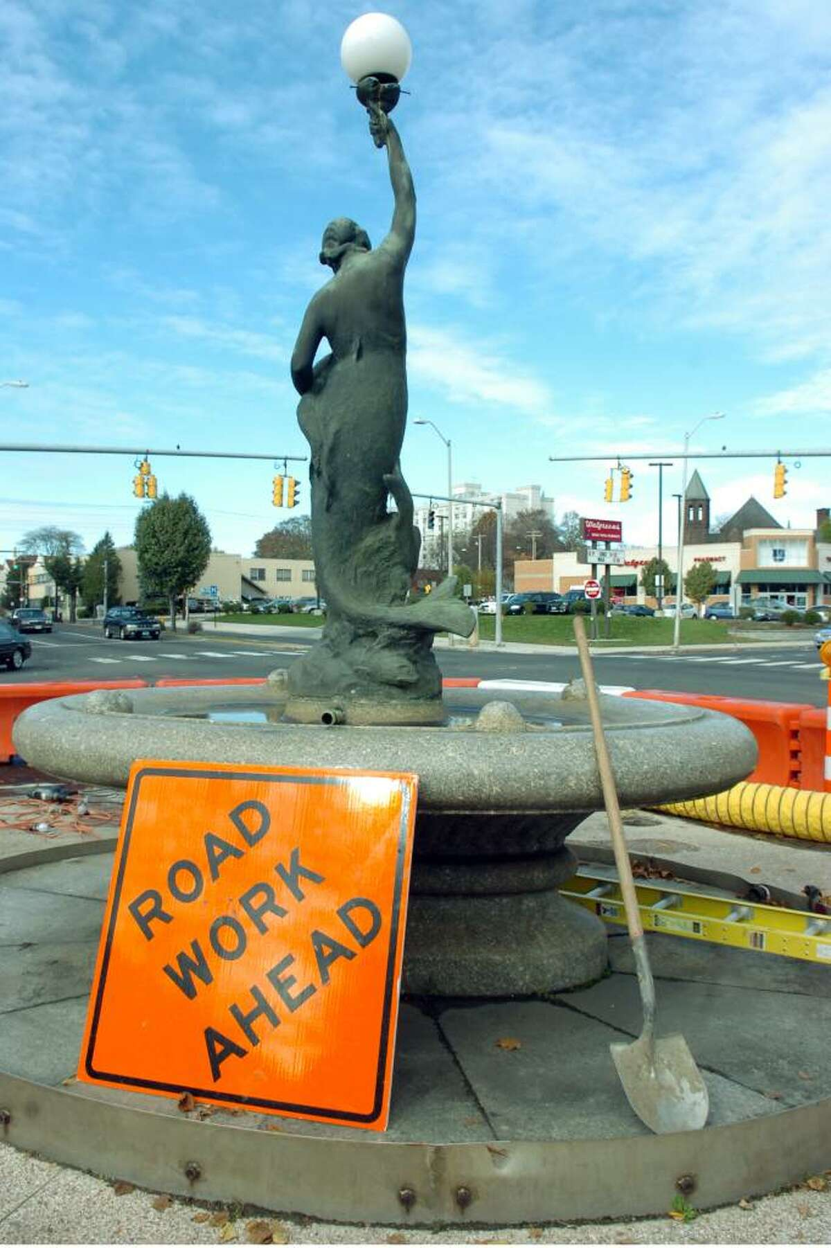 The Wheeler Memorial Fountain in Bridgeport, Conn. on Nov. 2nd, 2009. The historic fountain, which was built in 1912, will soon be refurbished after years of neglect and damage from automobile collisions.